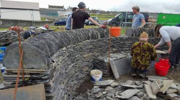 Building the drystone wall and seat